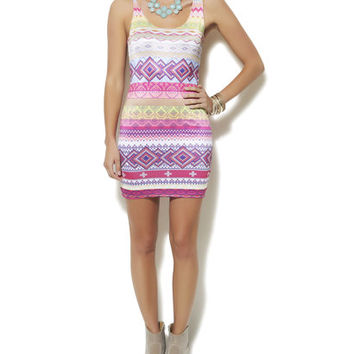 Neon Aztec Bodycon Dress | Shop Just Arrived at Wet Seal