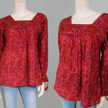 Vintage 70s Red Indian Cotton Paisley Shirt Boho Hippie Womens Top Medium M Bohemian Top 1970s Shirt Hippy Clothing Block Print Ethnic