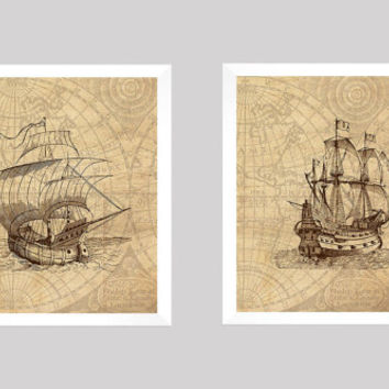 Nautical Prints, Nautical Decor, Vintage Nautical, Ship Prints, Vintage Map, Home Wall Decor, 8x10 Prints, Set of 2, CUSTOMIZE YOUR COLORS