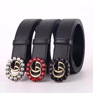 GUCCI Belt Men Woman Agate Belt Crystal Belt Fashion Smooth Buckle Leather Belt Three Color