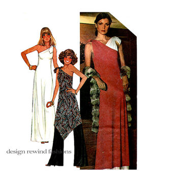 1970s ONE SHOULDER MAXI Dress Handkerchief Hem Tunic & Palazzo Pants Pattern McCalls 5371 Women's Vintage Sewing Patterns Bust 32.5 34 UNCuT