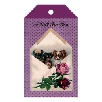 Sweet Vintage Puppies in Envelope Roses Gift Tags