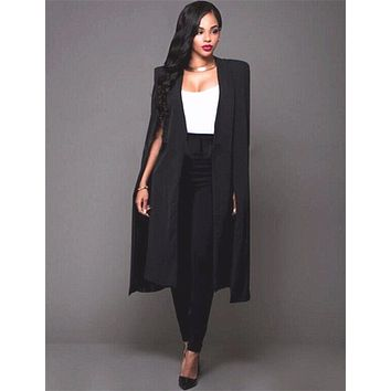 Autumn Fashion Trend Trench Coat Women Long Cloak A-Line Open Stitch Topcoat Casual Sleeveless palto manteau femme