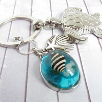 Sea Turtle Keychain with Shell Pendant