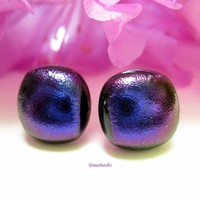 Songs of Midnight Fused Dichroic Glass Post Earrings - Eggplant Purple