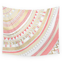 Society6 Coral + Gold Tribal Wall Tapestry
