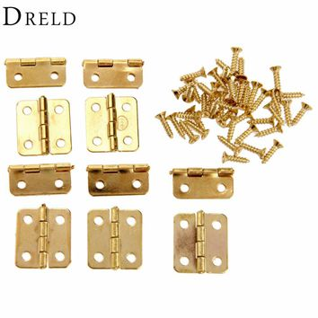 10Pcs Kitchen Cabinet Door Hinges Furniture Accessories 4 Holes Gold Drawer Hinges for Jewelry Boxes Furniture Fittings 18x16mm