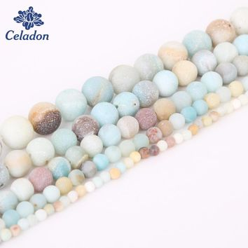 New Dull Polish Amazon Beads 4/6/8/10/12 mm 15'' Natural Round Stone Beads For Handmade Jewelry Necklace&Bracelet Craft Making