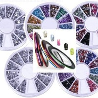 6 in 1:5 Nail Rhinestones Wheels with Total of 7400 Nailart Rhinestones,1 SET of 10 Nail Tape Stripe Decoration Sticker Hologram