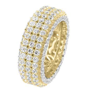 3 Row Sterling Silver Men's Fully Iced Out Solitaire 14k Gold Finish Eternity Wedding Ring Band