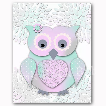 Owl nursery wall decor Mint lavender baby girl bedroom art kids room artwork playroom poster newborn toddler gift shower decoration print