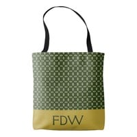 Customizable Green Leaf Monogram Tote Bag