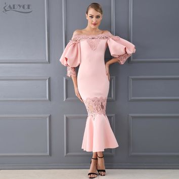 Adyce 2018 New Women's Lace Hollow Out Off-Shoulder Dress