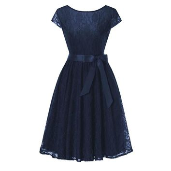 Navy blue Lace short sleeved Ball Gown Bridesmaid dresses wedding party prom dress  women fashion clothing
