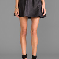 Donna Mizani Leatherette Circle Skirt in Black