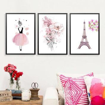 pink flowers eiffel tower Canvas Paintings Girls Wall Art Poster Birthday Gifts Nordic Pictures Kids Room Home Decor(NO FRAME NO