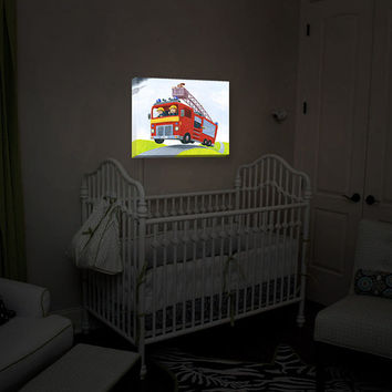 Illuminated Wall Art by DiaNoche Designs, Fire Truck, Nightlight, Home Decor, Soothing Ambiance Light