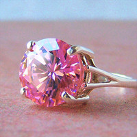 Pink Cubic Zirconia Sterling Silver Ring, Cavalier Creations