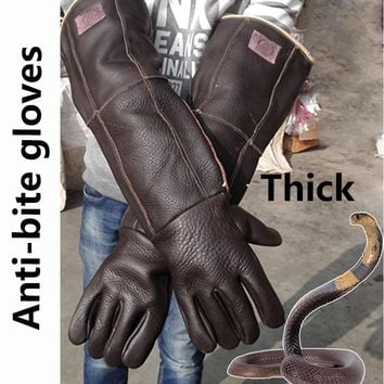 Thicken Anti-bite Leather Gloves Tactical Animal Training Feeding Safety Gloves Dog Cat Snake Anti Bite Anti-scratch Length 60cm