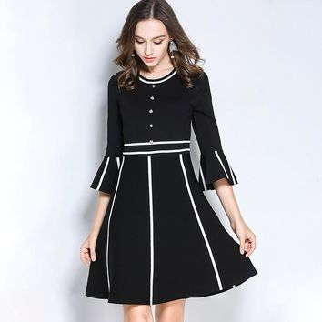 Autumn Fastener Paneled Sweater Dress Fashion Women Clothing Round Neck Flare Sleeve Knitted A-Line Dress