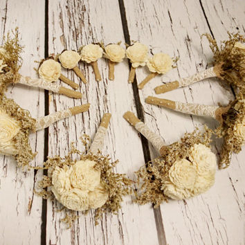 Rustic wedding SET of 6 BOUQUETS and 6 BOUTONNIERES Ivory brown sola Flowers, dried limonium, Burlap Bridesmaid, vintage brown small toss