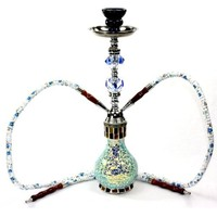 "Never Exhale TM Medium 18"" Mosaic 2 Hose Hookah - Beautifully Designed Glass Vase with Jewel Stem - Pick Your Color (Celeste Blue)"