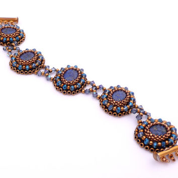 Lapis Lazuli, Crystal, & Gold Victorian-Inspired Bead Embroidered Bracelet