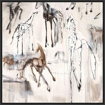 GHOST HORSE SONATA 28L X 28H Floater Framed Art Giclee Wrapped Canvas