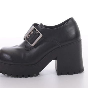 90s Black Chunky Platform Vegan Leather Shoes Metal Buckle Club Kid Hipster Boots Womens Size US7  UK 5 EUR 37-38