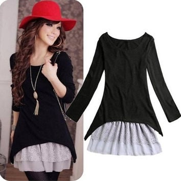 Casual Style Clothing 2pcs/set Cotton Knit Top+Strap Lace Dresses For Women New 2014 Spring/Autumn Clothes = 1958456644