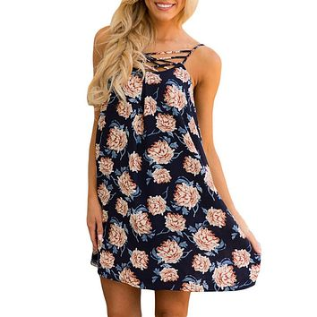 Boho Dress Summer Women Flower Print Evening Party Mini Chiffon Dress Beach Dress Cross Front Sundress vestidos