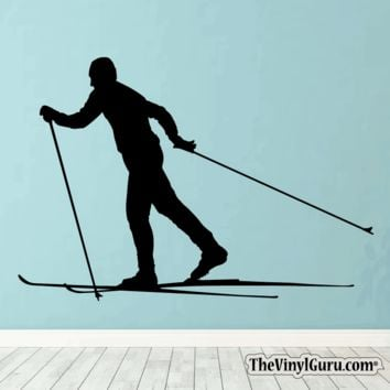 Skiing Wall Decal - Ski Sticker #00019