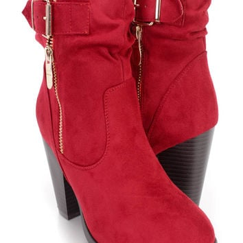 Red Slouchy Strap Single Sole Booties Faux Suede