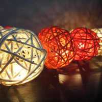 20 Mixed Sunshine Tone Handmade Rattan Balls Fairy String Lights Party Wedding Patio