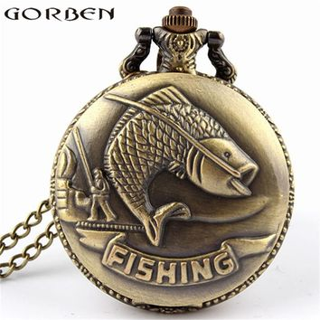 Unique Bronze Fishing Sculpture Pocket Watch for Men Women Necklace Fob Chain Steampunk Clock Quartz Retro Pocket Watches Gifts