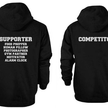 Supporter and Competitor Cute Couple Hoodies Funny Matching Hooded Sweatshirts