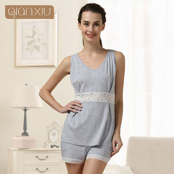 Qianxiu Pajamas Set Summer Lace lounge wear Suit Modal underwear Vest Girl Pajamas