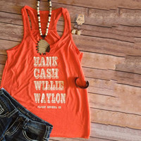 Hank Cash Willie Waylon Classy CowGirl Country Music Graphic Print Orange Tank Top