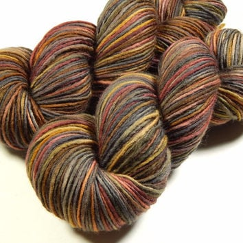 Hand Dyed Yarn - DK Weight Superwash Merino Wool Singles Yarn - Agate - Knitting Yarn, Wool Yarn, Single Ply Yarn, Earthtones, Brown, Grey