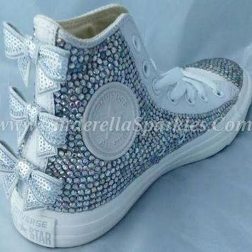 ICIKHD9 White Chuck Taylor High Top Crystal Rhinestone Converse with seuin bow - Mono leather