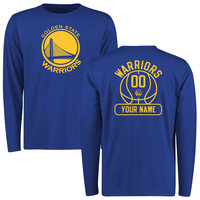 Men's Golden State Warriors Royal Issued Personalized Name & Number Long Sleeve T-Shirt