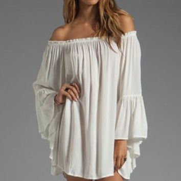 White Off-shoulder Ruffled Chiffon Long Sleeve Shift Mini Dress