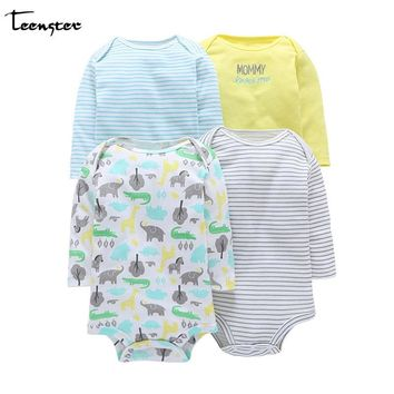 Teenster Bodysuit  Baby Girl&boy Clothes Vetement Enfant Fille Twins Bodysuit Baby Long Sleeve Body Newborn Clothes 4pcs