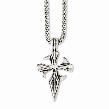 Stainless Steel Polished & Antiqued Dagger Cross Necklace