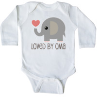 Loved by Oma Long Sleeve Creeper White $17.99 www.personalizedgrandma.com