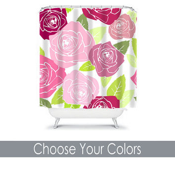 ROSE Flower Shower Curtain Monogram Choose Your Colors Pink Green Preppy Floral Pattern Girl Bathroom Bath Polyester Made in the USA