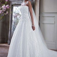 Strapless All Over Beaded Lace Ball Gown - David's Bridal - mobile