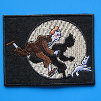 Iron-on Embroidered Patch Tintin & Snowy  3.5 inch