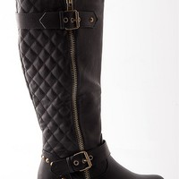 Natures Breeze Luxury Life Quilted Back Riding Boots - Black