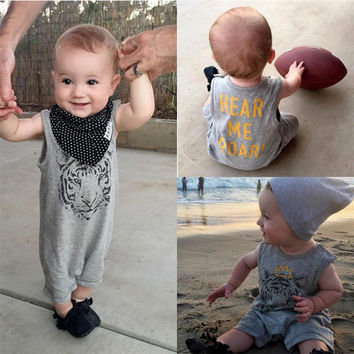 Toddler Baby Kids Cotton Casual Sleeveless Rompers Newborn Baby Boys Clothes Tiger One Pieces Jumpsuit Outfits For 0-24M Baby